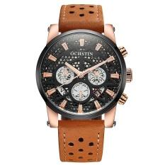 Ochstin 2017 Brand Luxury Genuine Leather Quartz Skeleton Men Watches Luminous Water Proof Man Casual Wristwatch Calendar Box Intl Price