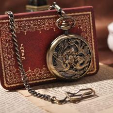 How To Get Oppoing New Arrival Vintage Prints Dragon And Phoenix Mechanical Pocket Watch Arabic Numbers Steampunk Watch Collection Relogio Pw226 Bronze