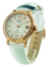 Price Orient Automatic Fashionable Female White Leather Strap Watch Er2E002W Orient New