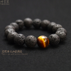 Original Creative Retro Natural Lava Rock Tiger Eye Stone Tiger Eye Crystal Fashion In Europe And America Bracelet For Men And Women Transport Bracelets Lower Price