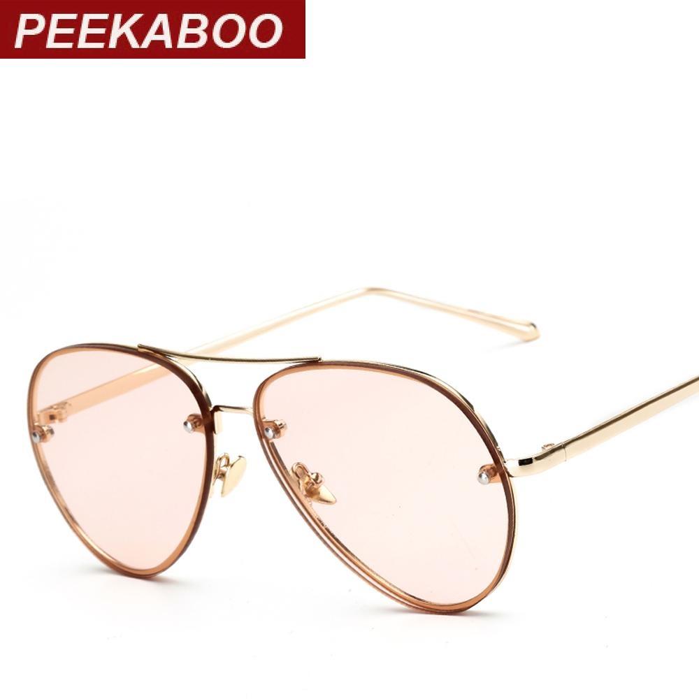 4291e8220538 Peekaboo Sunglasses Clear Tinted Lens Cheap Fashion Eyewear Ocean  Transparent Yellow Pink Green Metal Frame Sun