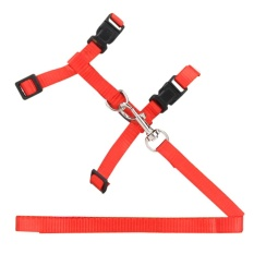 Pet Cat Rabbit Durable Nylon Outdoor Collar Chest Strap Traction Harness (red) - Intl By Crystalawaking.