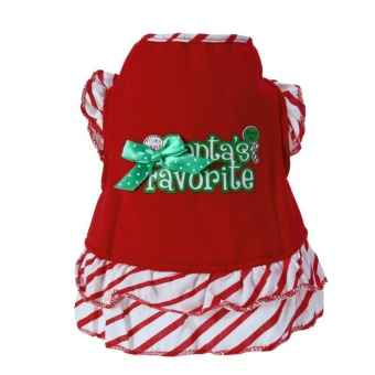 Pet Dog Cat Striped Dress Cute Letter Printed Puppy Christmas Dress Costume(Red)-XL