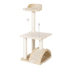Buy Pethouzz 3 Layer Luxury Cat Scratching Post Tree Condos Cat Climbing Frame Cats Play Castle Beige Online