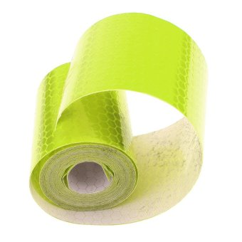 Portable Car Reflective Sticker Roll Strip 118.11 x 1.97inches Self-adhesive Super Reflective Brightness Warning Tape Film Reflectors Type Sticker for Roads Cars Ships Sea-route Stage Fluorescent-yellow
