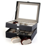 Cheaper Pu Leather 20 Grids Watch Display Case Box Jewelry Storage Organizer Intl