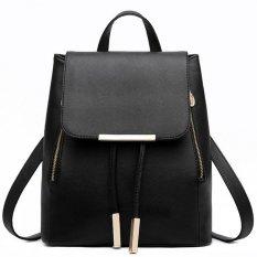 Deals For Pu Leather Backpack Sch**l Bag Student Backpack Women Travel Bag Black