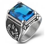 Buying Pudding Men S Domineering Titanium Steel Rings Inlaid Gemstone Blue