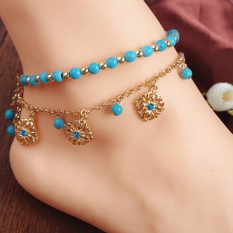 Punk Bohemia Turquoise Beads Anklets Tassels Bracelet Womens Foot Chain Anklet Gold