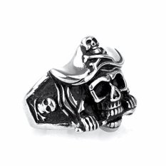 For Sale Punk Man Stainless Steel Pirate Captain Skull Ring Silver Gold