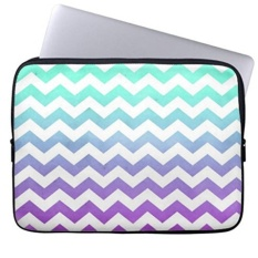 Purple Turquoise Fade White Chevron Zigzag Pattern Laptop Sleeves Notebook Cover Or 13 Inch Intl Sale