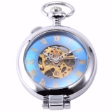 Discount Retro Blue Silver Round Transparent Hunter Skeleton Men Lady Fob Pendant Long Chain Clip Pocket Watch Jewelry Clock Gift Wpk130 Intl Oem