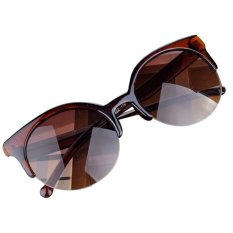Retro Cat Eye Semi-Rim Round Sunglasses Brown By Bpfair.