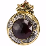 Retail Retro Classic Fashion Bronze Golden Hunter Dragon Red Crystal Cover Case Men Lady Quartz Pocket Watch Fob Chain Jewelry Wpk043 Intl