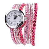 Buy Rhinestone Leather Dress Bracelet Wristwatch Pink On China