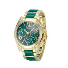 Roman Numeral Gold Plated Metal/nylon Link Watch (green) By Fashion Deal.