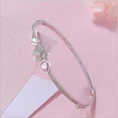 S925 Sterling Silver Bracelet Female Lucky Four Leaf Grass Crystal Diamond Open Mouth Bracelet Heart Shaped Jewelry In Stock