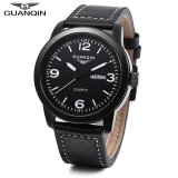 Review S L Guanqin Gs19036 Male Quartz Watch Calendar 3Atm Genuine Leather Band Wristwatch White Intl On China
