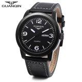 Best S L Guanqin Gs19036 Male Quartz Watch Calendar 3Atm Genuine Leather Band Wristwatch White Intl