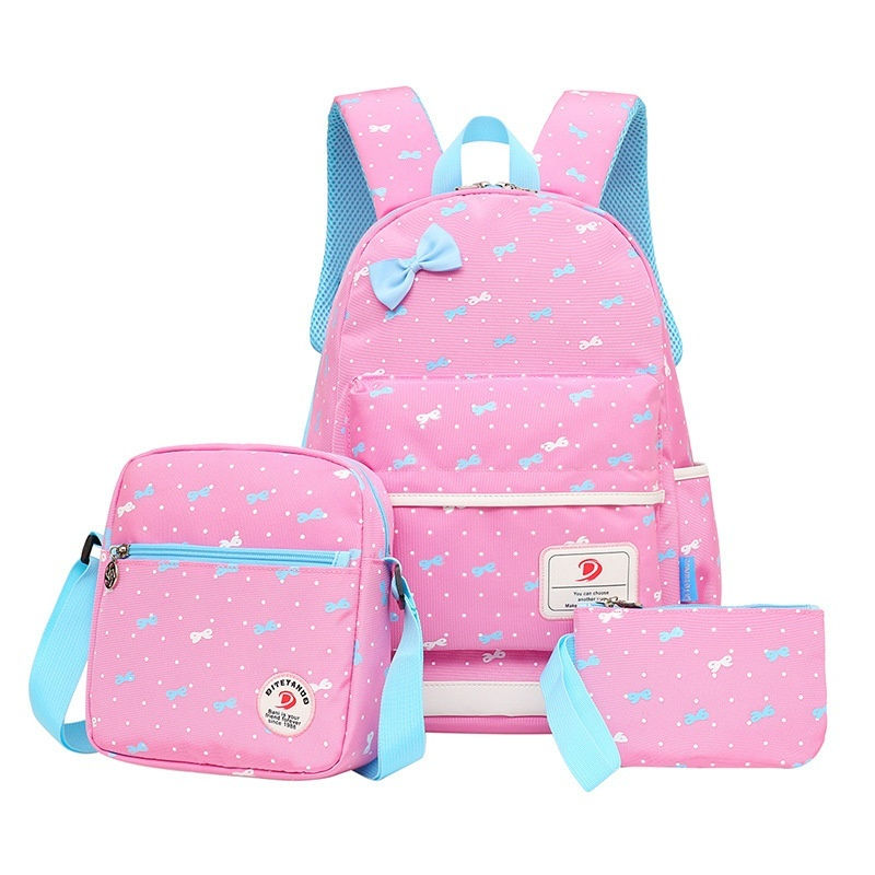 School Bags For Girls Children Backpacks Dot Printing Bow Princess Primary Korean Backpack Kids Bag Schoolbag Mochilas 3pcs/set - intl