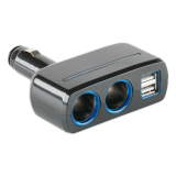 Sd 1918 Dual Cigarette Lighter Socket Power Adapter With Dual Usb Output Black Coupon