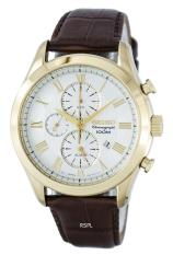 Seiko Classic Chronograph Quartz Alarm Men S Brown Leather Strap Watch Snaf72P1 Online