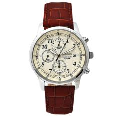 List Price Seiko Men S Chronograph Brown Leather Strap Watch Sndc31P1 Seiko