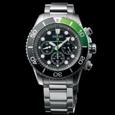 Discount Seiko Prospex Solar Powered Chronograph Black Green Quarter Bezel On Metal Bracelet Ssc615P1