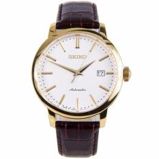 Seiko Watch 5 SPORTS Brown Stainless-Steel Case Leather Strap Mens JAPAN NWT + Warranty SRPA28J1