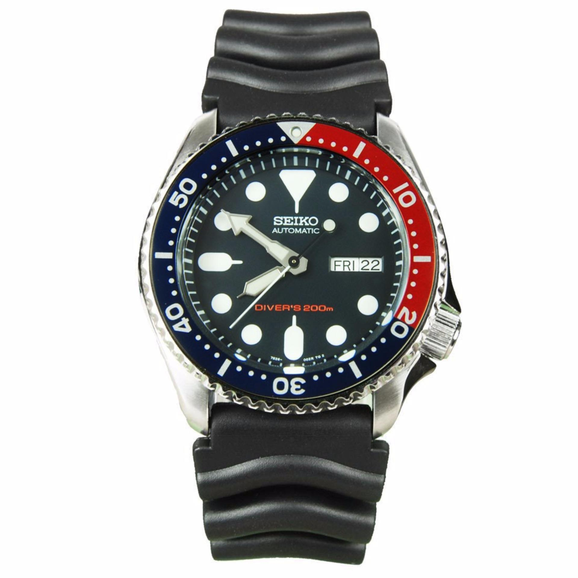 Seiko Watch Automatic Diver's Black Stainless-Steel Case Rubber Strap Mens SKX009K1