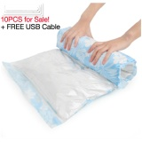 Set Of 10 Hand Roll Vacuum Compression Storage Bags Blue Intl Free Shipping
