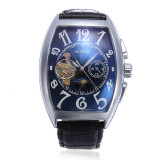 Compare Sewor Men Rectangle Leather Mechanical Analog Wrist Watch