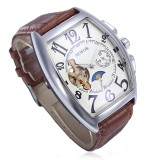 Coupon Sewor Men Rectangle Leather Mechanical Analog Wrist Watch