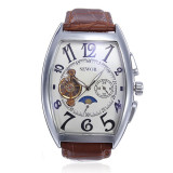 Sewor Rectangle Luxury Leather Mechanical Analog Men Wrist Watch Brown Intl Best Price