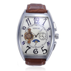 Buy Cheap Sewor Rectangle Luxury Leather Mechanical Analog Men Wrist Watch Brown Intl