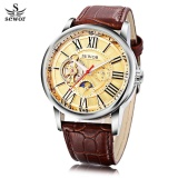 How Do I Get Sewor Sw069 Men Auto Mechanical Watch Luminous Moon Phase Genuine Leather Band Wristwatch Intl