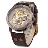 Sale Shenhua 9269 Men Steampunk Bronze Hollow Mechanical Leather Wrist Watch Brown Shenhua On China