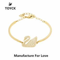 Top Rated Silver Crystal Swans Chain Cuff Bracelet Bangle For Girlfriend Wife Lover Birthday And Valentine S Day Present Toyck Gold Intl