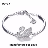 Silver Crystal Swans Chain Cuff Bracelet Bangle For Girlfriend Wife Lover Birthday And Valentine S Day Present Toyck Silver Intl On China