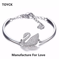 Compare Silver Crystal Swans Chain Cuff Bracelet Bangle For Girlfriend Wife Lover Birthday And Valentine S Day Present Toyck Silver Intl Prices
