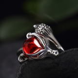 New Silver Toffee S925 Sterling Silver Ring Female Fox Opening Cool Index Finger Influx Of People Wild Pomegranate Red Stone Chalcedony Ring