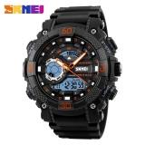 Top Rated Skmei 1228 Men Sport Watch Digital Analog Quartz Watches Led Big Dial Clock 30M Waterproof Black Pu Strap Dual Display Men S Wristwatches Intl