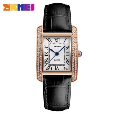 Price Comparisons Of Skmei 1281 Ladies Fashion Quartz Watch Diamond Leather Casual Wear Watch Gold Shell Black Belt Intl