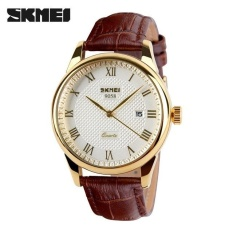 Compare Prices For Skmei 9058 Brand Luxury Male Quartz Watch Fashion Casual Watches 30M Waterproof Leather Strap Wristwatches White Brown Belt Intl