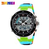 Skmei Fashion Men S Sports Watch Analog Digital Led Waterproof Casual Quartz Watch 1016 Green Black Intl Deal
