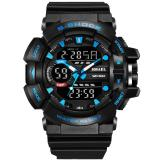 Cheaper Smael 2017 Men Gold Sports Luxury Watches Led Quartz Dual Display Outdoor Military Waterproof S Shock Electronic Wristwatch Blue Intl