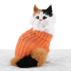 Small Pet Puppy Cat Dog Sweater Warm Clothes Knit Coat Winter Apparel Costumes (orange S) - Intl By Highfly.