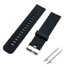 Soft Silicone Solid Color Adjustable Replacement Watchband Quick Release Needle Buckle Watch Band Metal Clasp Wrist Band Strap For 22mm Men Women Watch Accessary Black - Intl By Stoneky.