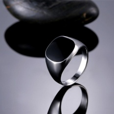 Solid Polished Stainless Steel Band Biker Men Signet Ring Black Silver 8 - Intl By Foxloom.