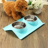 Where Can You Buy Splashproof Double Pet Bowl Stainless Steel Dog Cat Puppy Feeder Food Water Dish Blue Intl